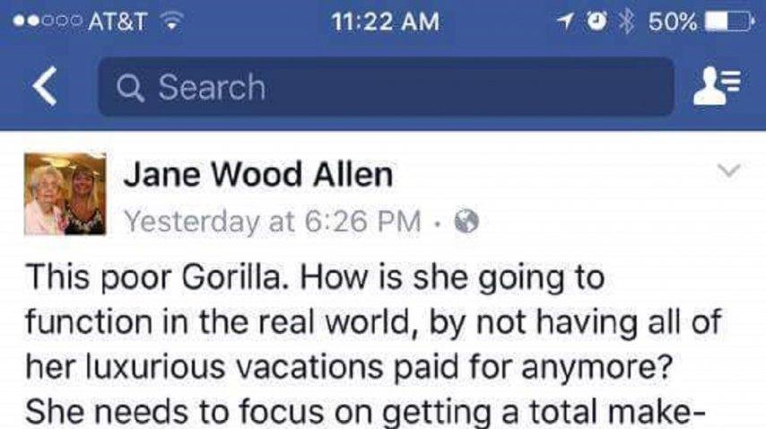 Captura del perfil de Jane Wood Allen en el que tilda de