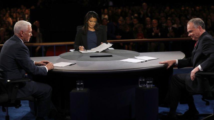 <p>Tim Kaine y Mike Pence en el debate de candidatos a vicepresidentes de Estados Unidos</p><p></p>