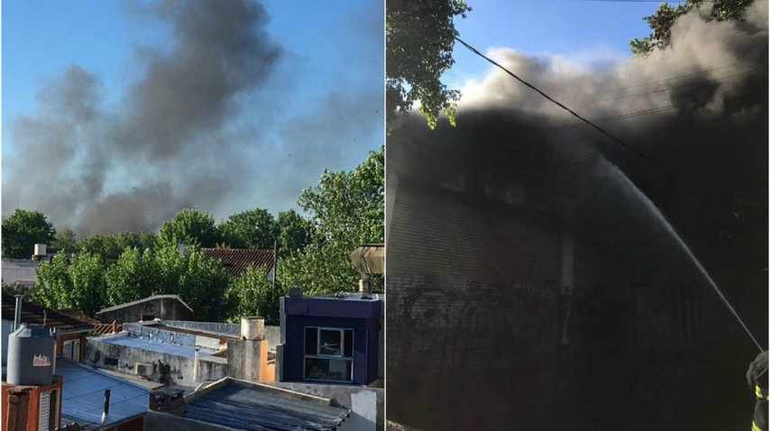 Incendio en un supermercado en Banfield. Imágenes de Twitter