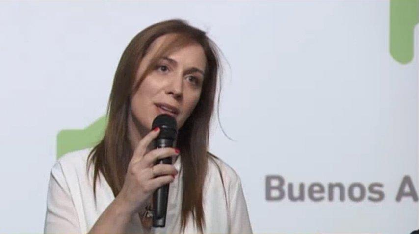 <i>María Eugenia Vidal durante el anuncio de la reforma en La Plata</i><br>
