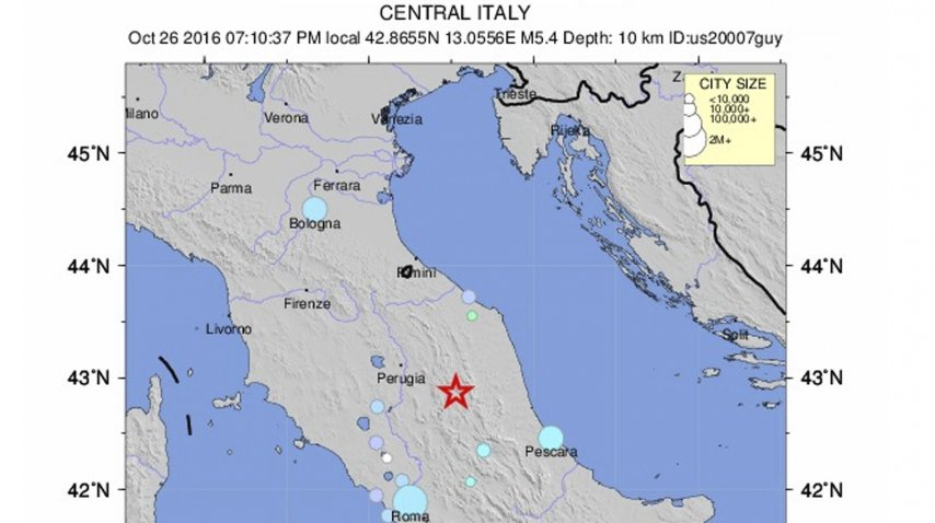 El sismo se registró en la Región de las Marcas, centro de Italia<br>
