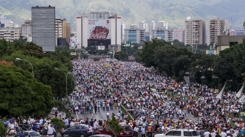 La manifestación contra el gobierno de Maduro fue masiva<br>