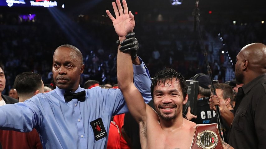 <p>Pacquiao se quedó con el título mundial de peso Welter de la OMB</p><p></p>
