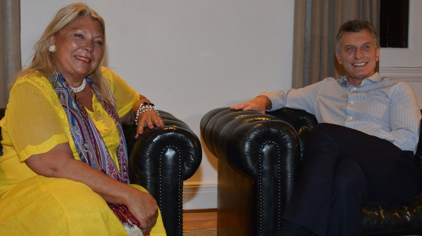Elisa Carrió y Mauricio Macri en Olivos