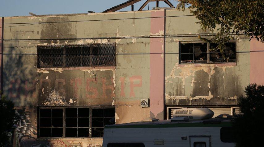 El edificio tras el incendio<br>