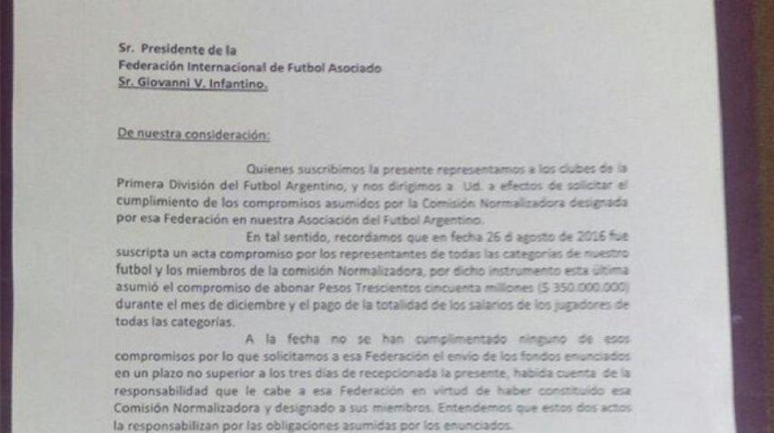 La carta que los clubes de Primera le enviaron a FIFA<br>