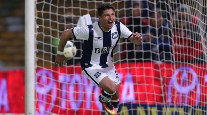El tucumano Palacios, celebrando un gol con Talleres<br>