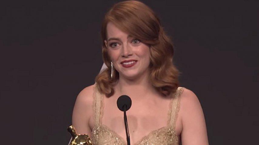 Emma Stone, en la conferencia de prensa de los Oscar 2017. <br>