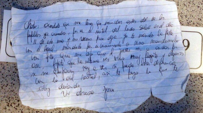 Carta de narcotraficante pidiendo provisiones