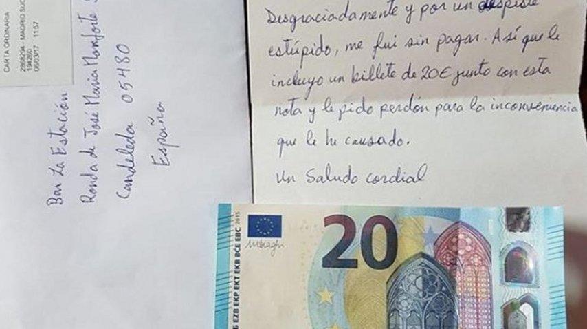 Se olvidó de pagar la cuenta y envío el dinero con una carta