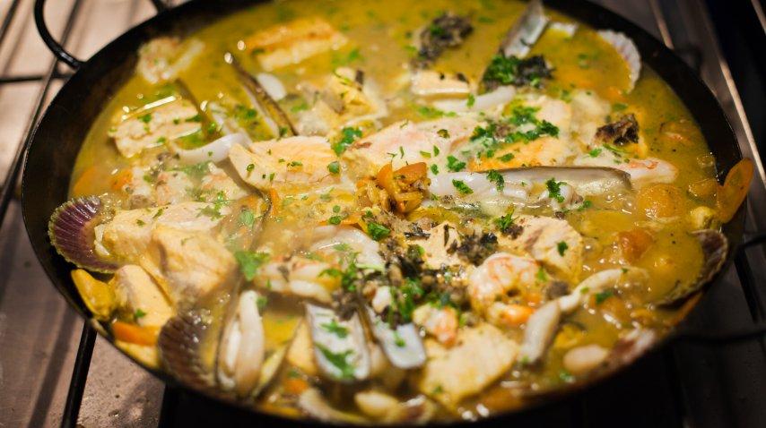 Gastronomía con frutos de mar<br>