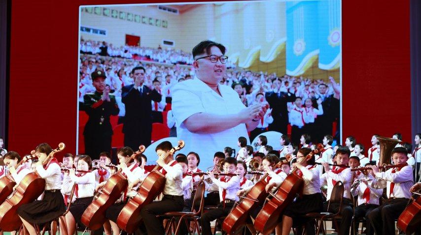 Kim Jong-Un en una pantalla durante el Día del Sol en Corea del Norte<br>