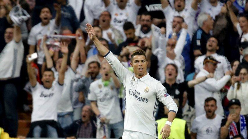 El festejo de Cristiano Ronaldo ante su gol ante Atlético Madrid por Champions<br>