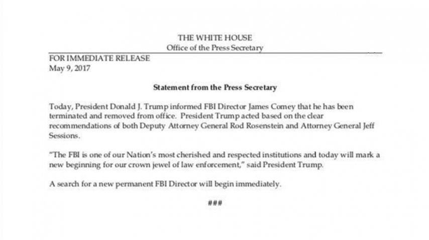 Donald Trump echó a James Comey, director del FBI
