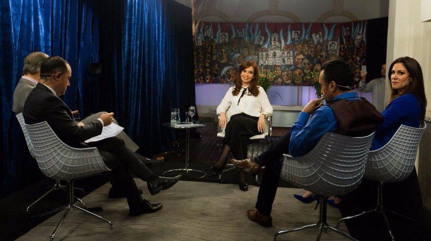 Cristina Kirchner, durante la entrevista a C5N (Instituto Patria)<br>