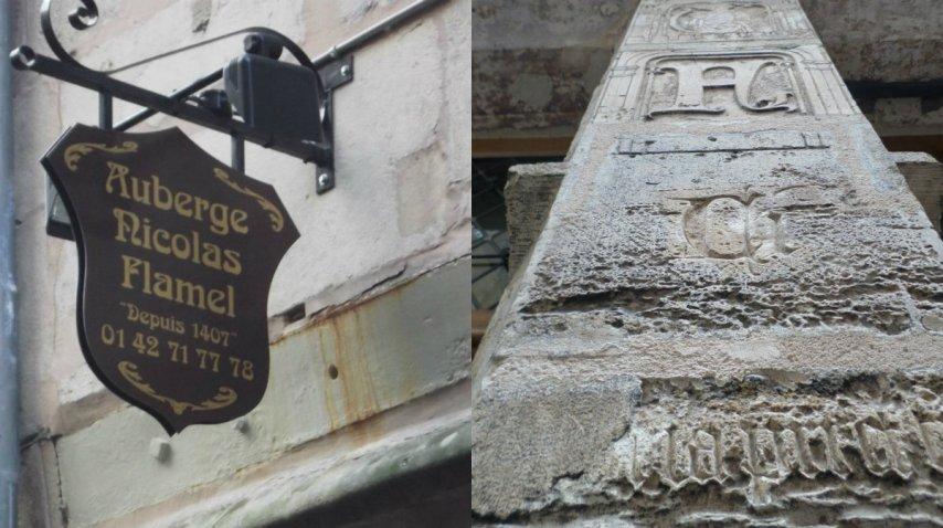 Algunos detalles nuevos y viejos de la fachada de la casa de Flamel<br>