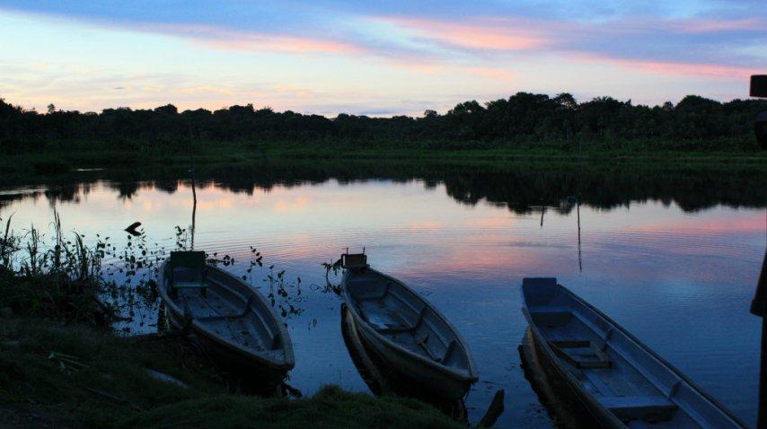 El atardecer privilegiado en la selva del Amazonas ecuatoriano<br>