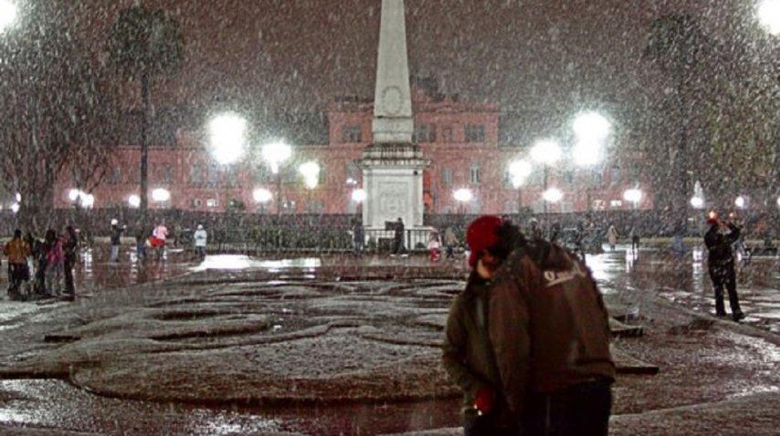 El 9 de Julio de 2007 nevó en Buenos Aires<br>