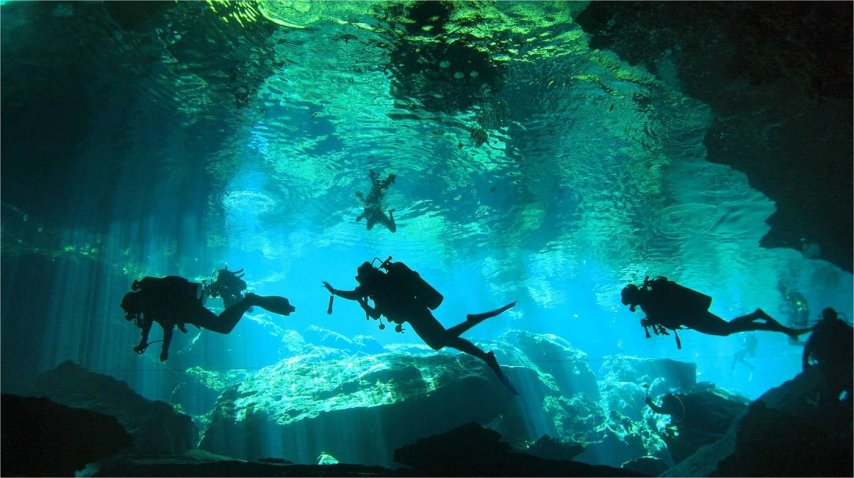 Cenote Chac Mool, ideal para practicar buceo<br>