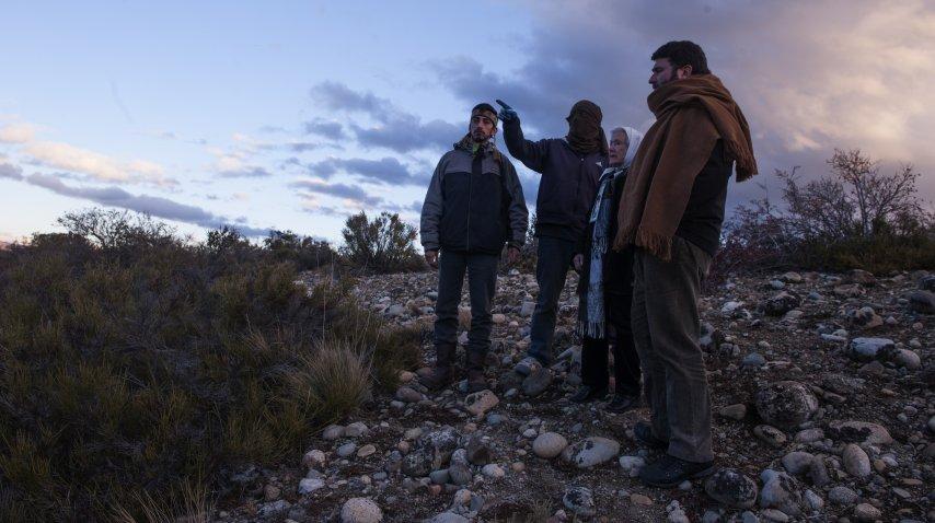 Nora Cortiñas, junto a Roberto Cipriano, de la Comision de la Memoria, y el mapuche Fernando Huala.